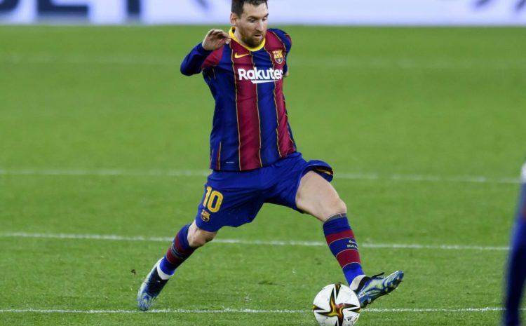 (Forbes.fr)Lionel Messi lors de la demi-finale aller de la Coupe du Roi contre Séville (février 2021).