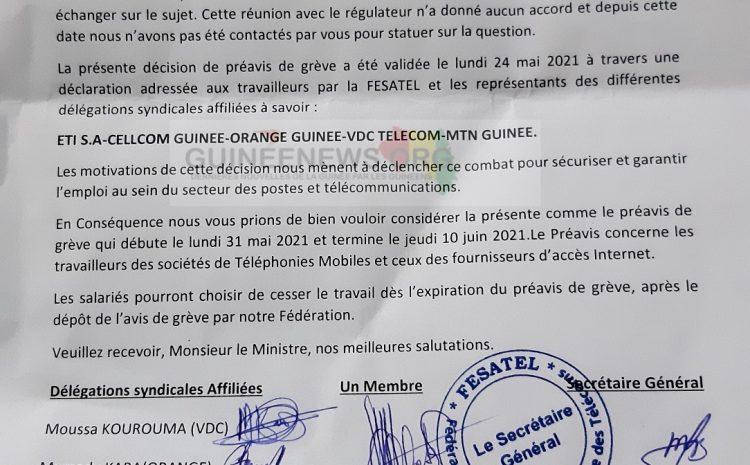 (Guineenews.org)Téléphonie : la FESATEL annonce une grève générale dans le secteur